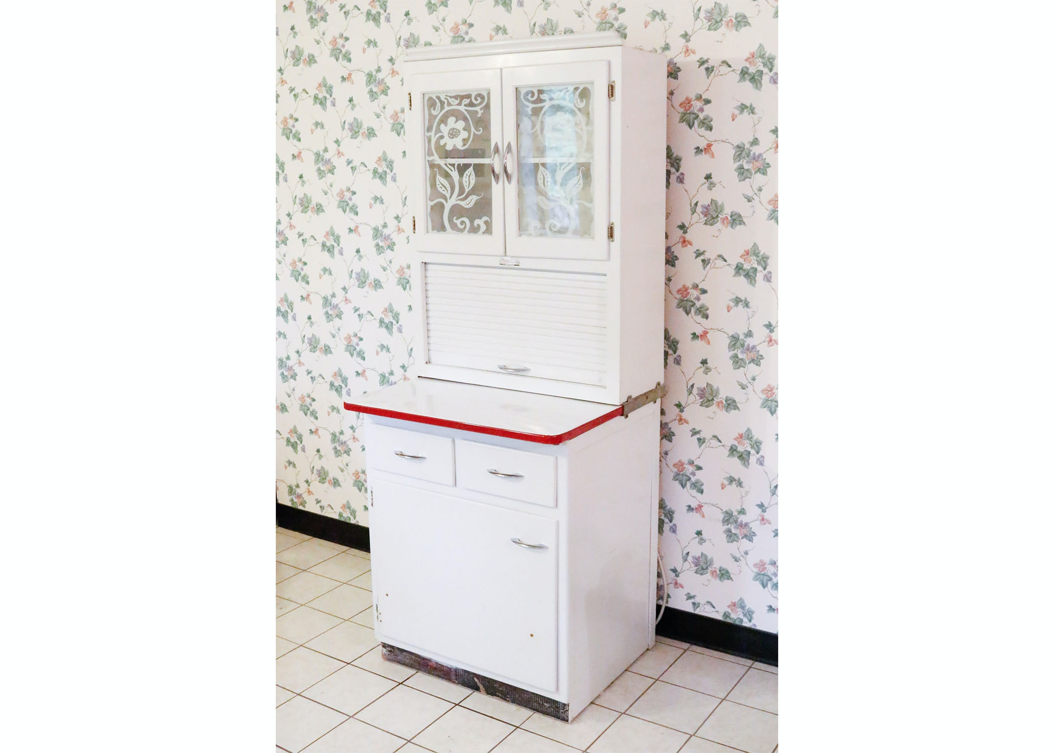 hoosier kitchen cabinet after a lot of scrubbing patching