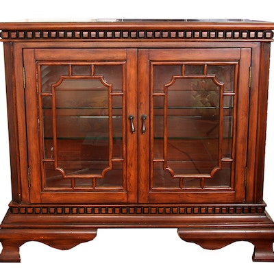 Walnut Display Cabinet with Burled Top - Vintage And Antique Cabinets Auction In Louisville, Kentucky