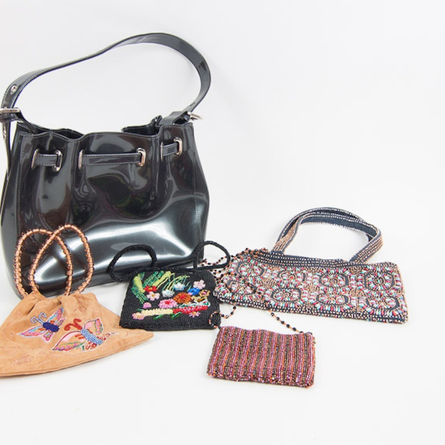 Beijo Patent Leather Handbag And Trio Of Moyna Evening Bags
