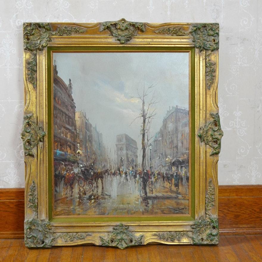 Original Oil On Canvas, Impressionist Style City Scene