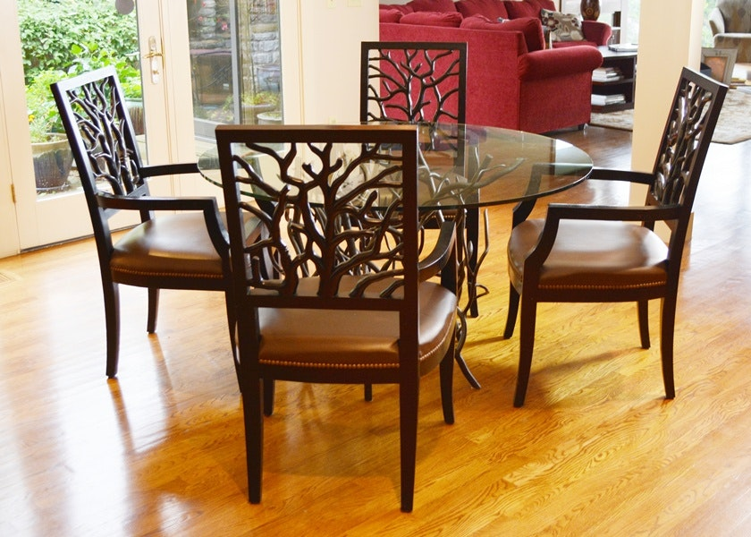 Wrought iron and wood furniture Hand Teamyokomoinfo De Luco Wrought Iron Tree Branch Table And Four Wood Chairs Ebth