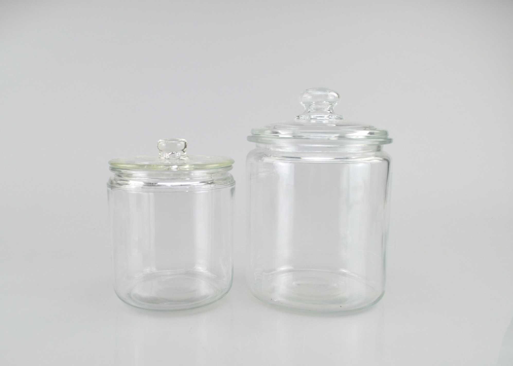 Pair Of Vintage Clear Glass Canisters