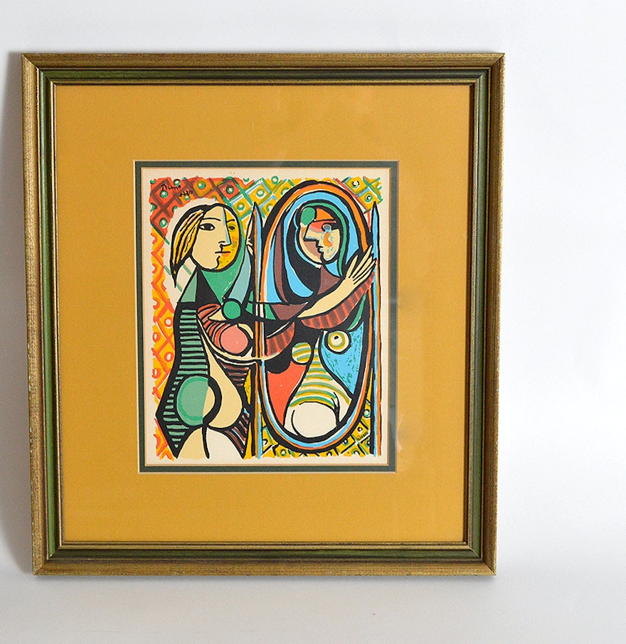 pablo picasso girl before a mirror framed lithograph print ebth. Black Bedroom Furniture Sets. Home Design Ideas