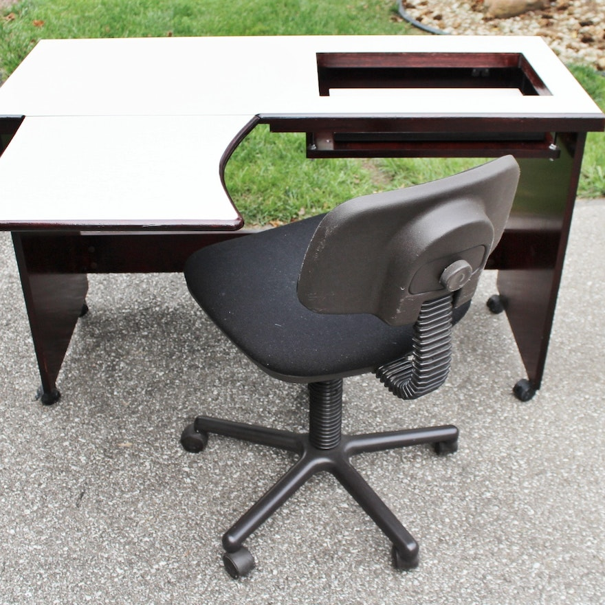 Cherry Finish Rolling Sewing Table And Chair