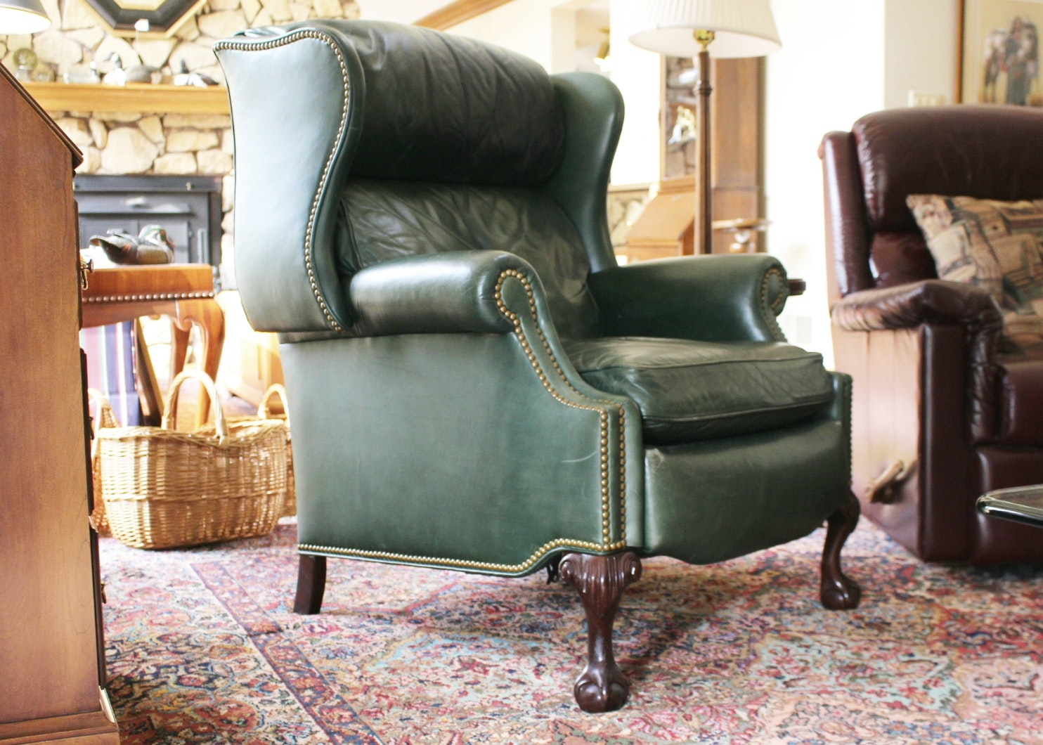 Hancock U0026 Moore Green Leather Wing Back Recliner ...