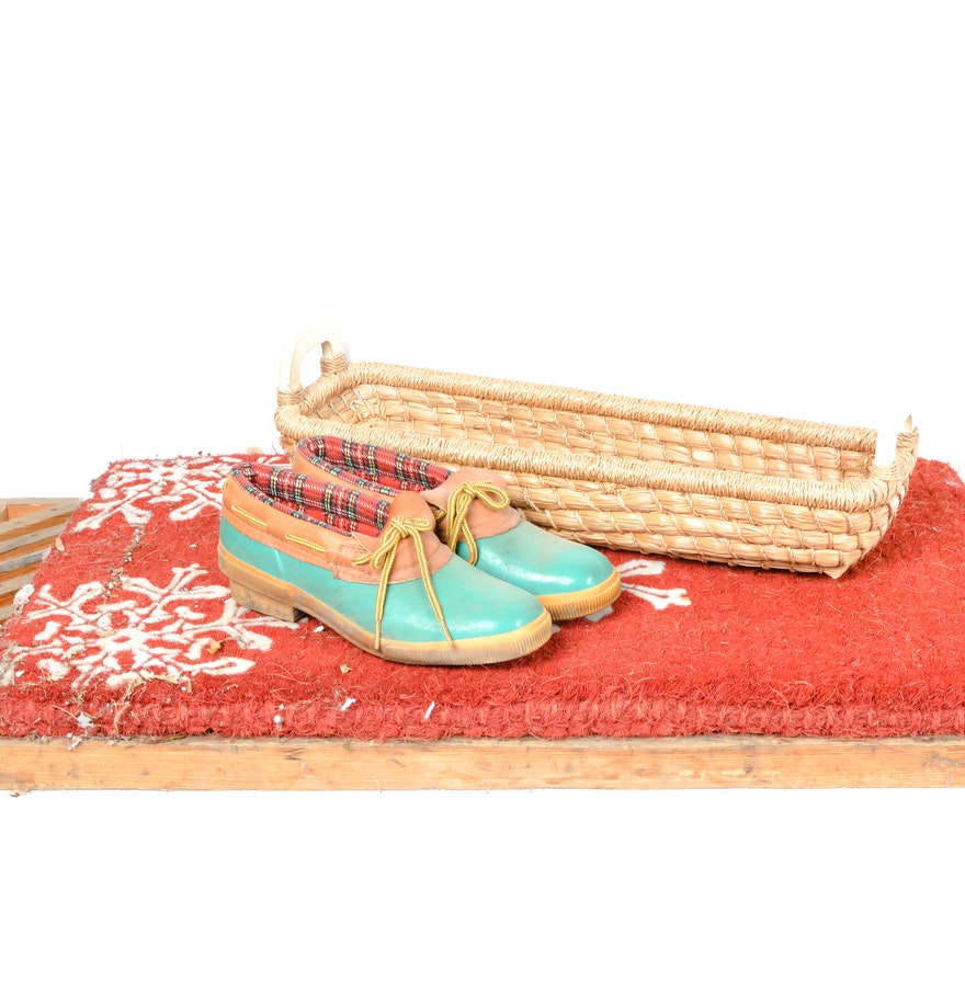 Teak mat with snoflake doormat basket and land 39 s end shoes ebth - No shoes doormat ...