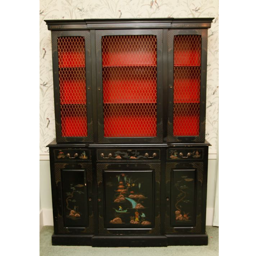 Asian Inspired Secretaire with Bookcase
