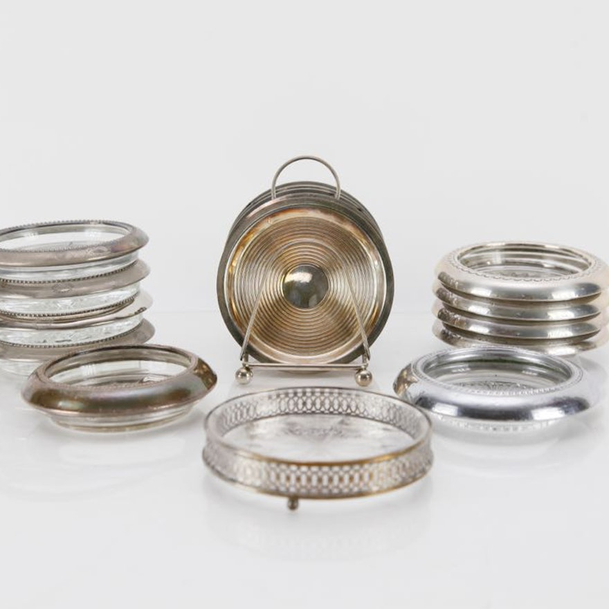 Assortment of Glass and Silverplate Coasters
