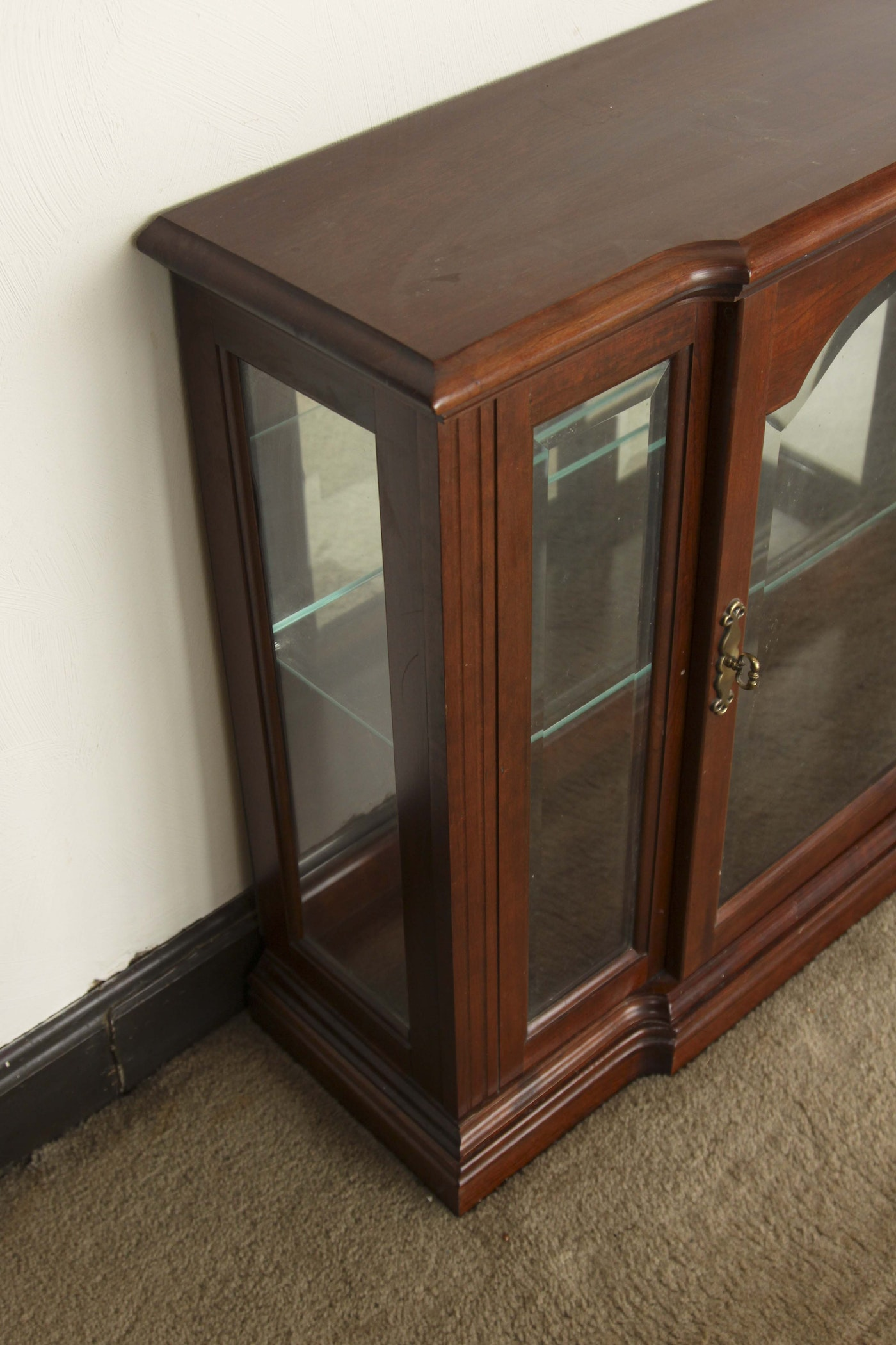 Small Wood And Glass Curio Floor Cabinet Ebth