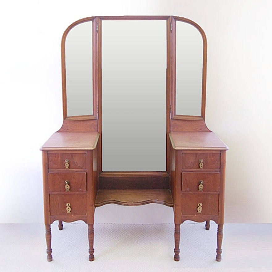 watch d0aa2 8a033 1940s Walnut Dressing Table with Tri-Fold Mirror
