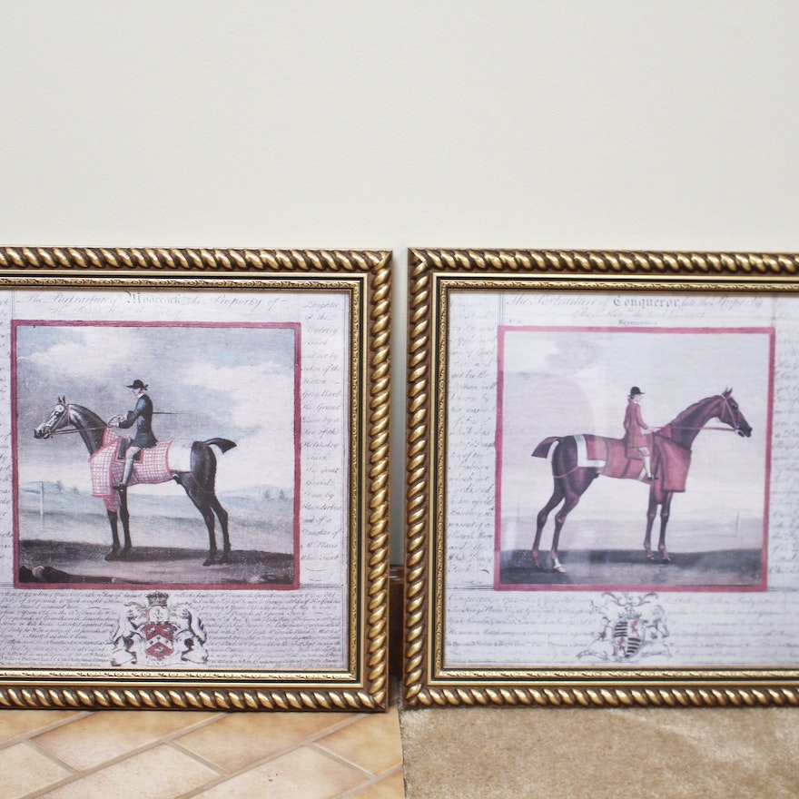 Pair of Horse Prints in Gilt Wood Frames : EBTH
