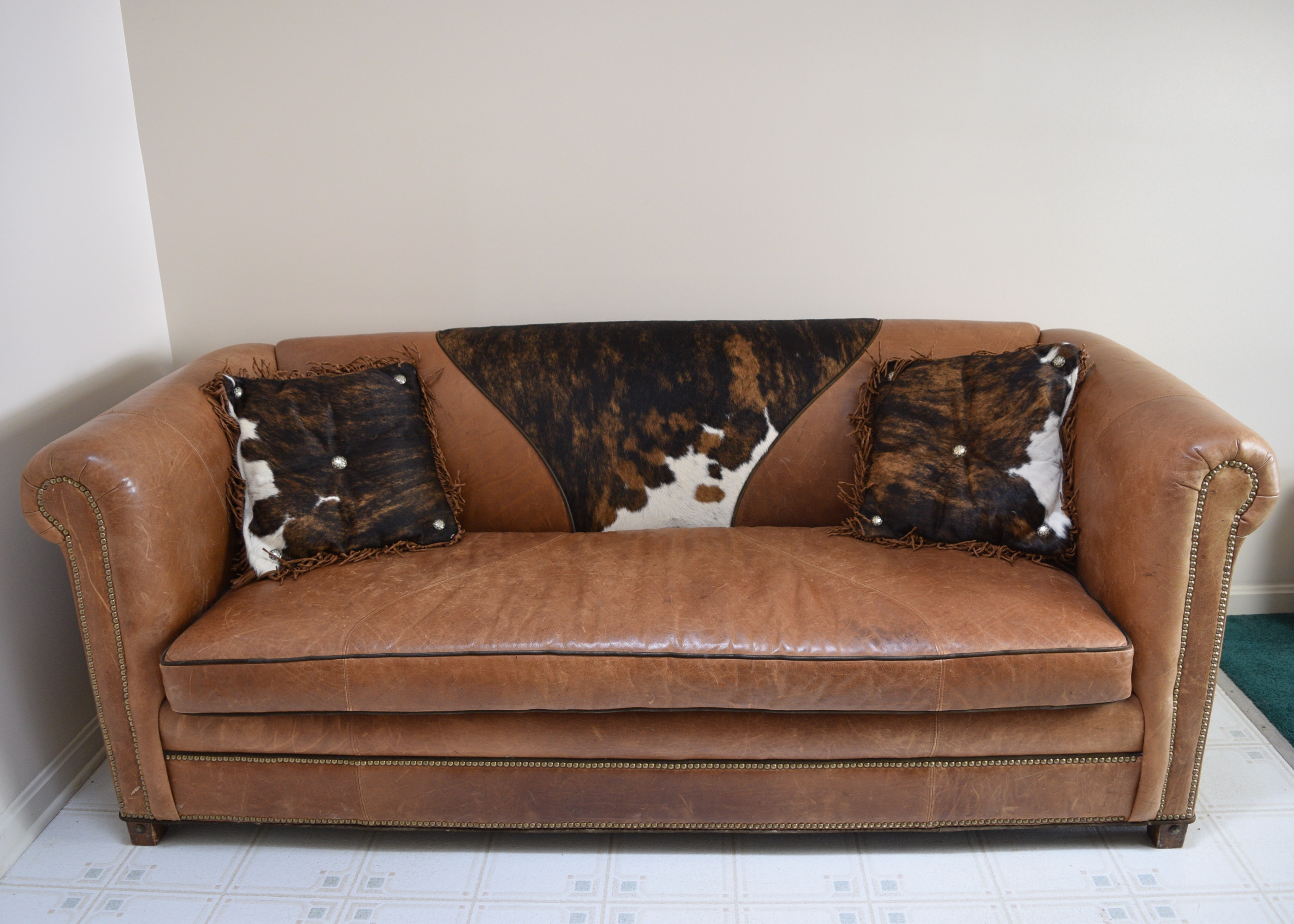 Old Hickory Tannery Leather Cowhide Sofa ...
