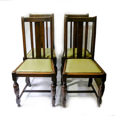 Set of Oak Dining Chairs - Online Furniture Auctions Vintage Furniture Auction Antique