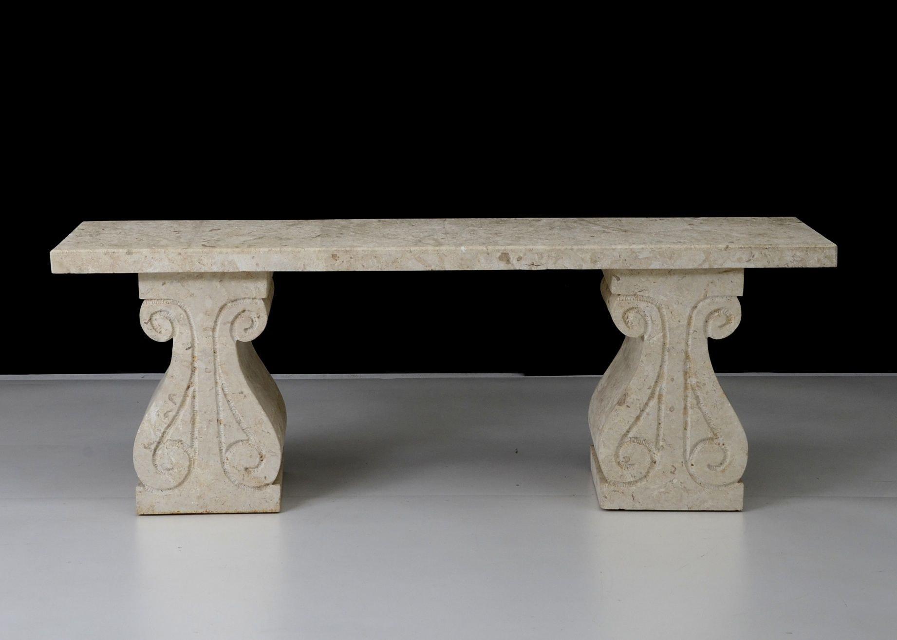 White Stone Hall Table