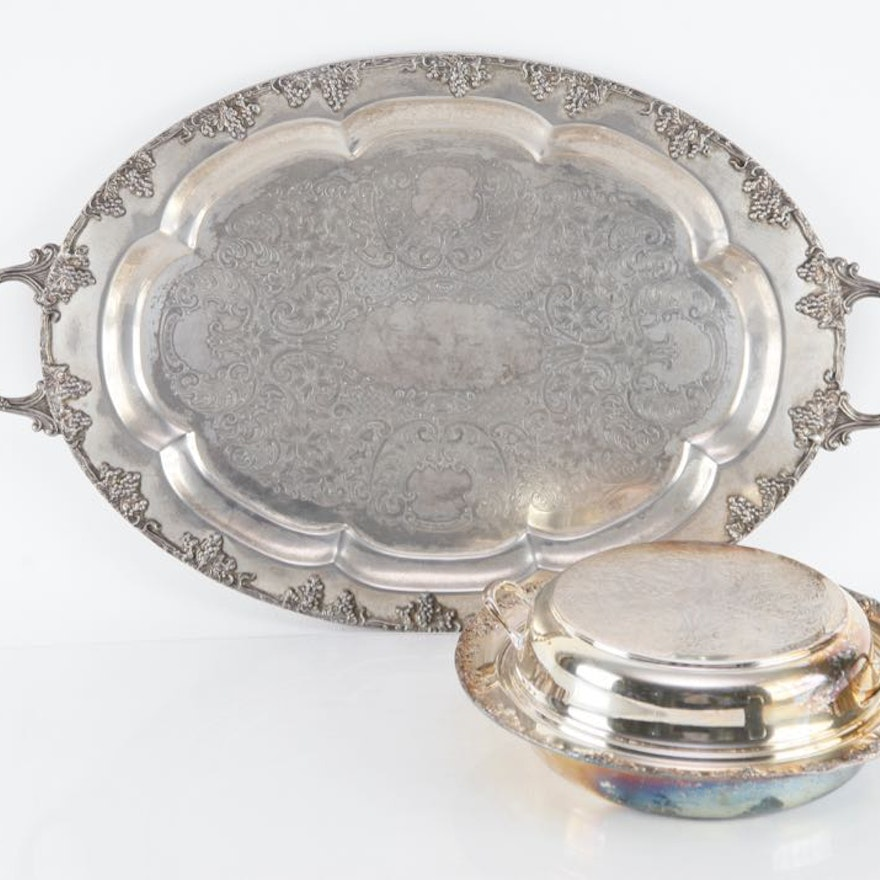 Silver Plate Tray and Chafing Dish