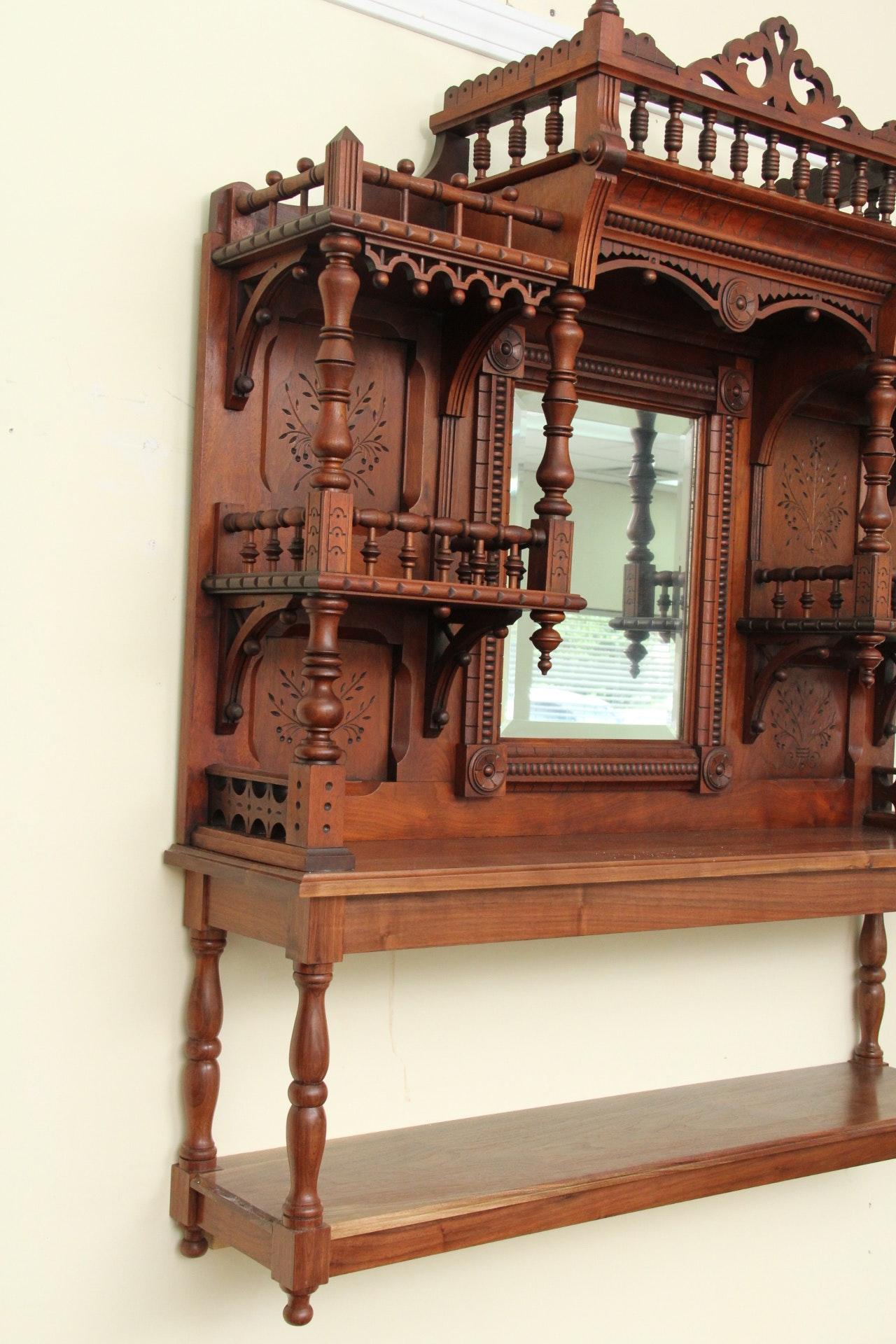 Antique Eastlake Walnut Repurposed Wall Shelf : EBTH