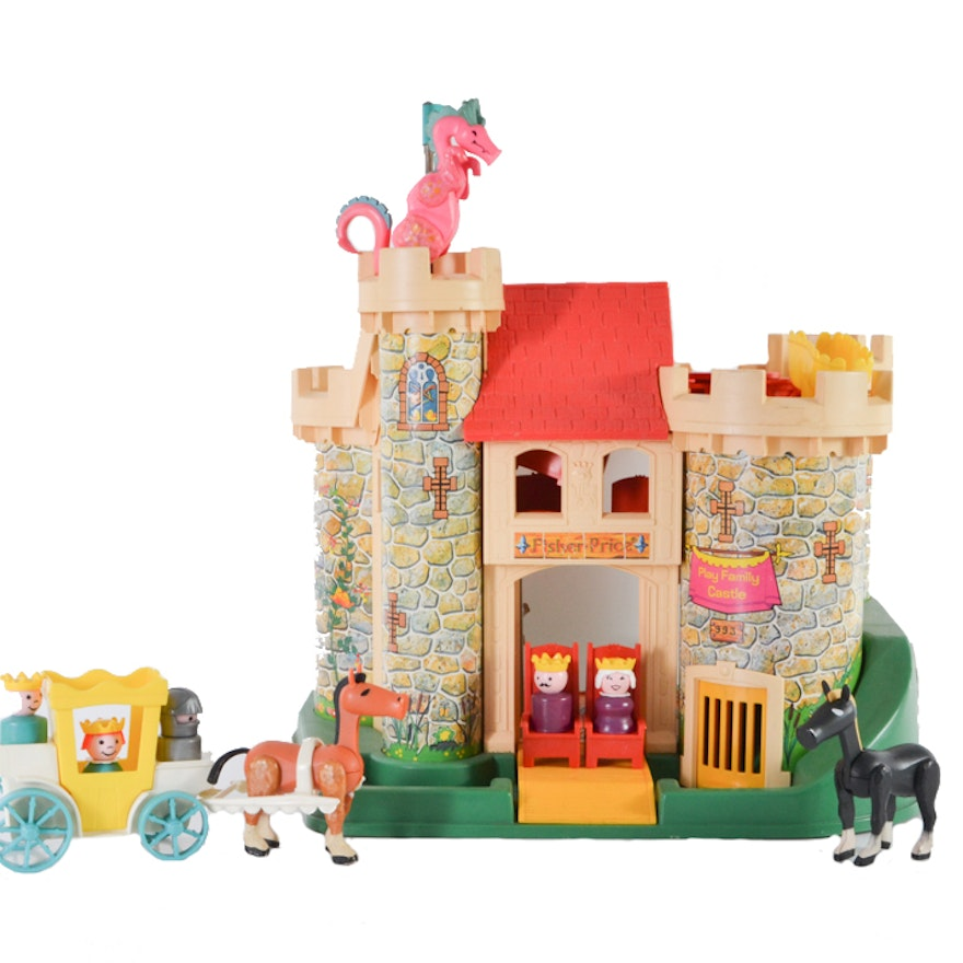 vintage fisher price little people play family castle ebth