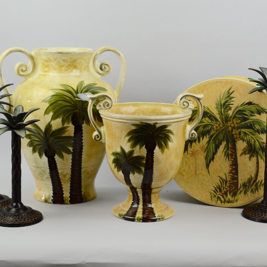 Palm Tree Themed Glazed Ceramic Urns And Candlestick Holders Ebth
