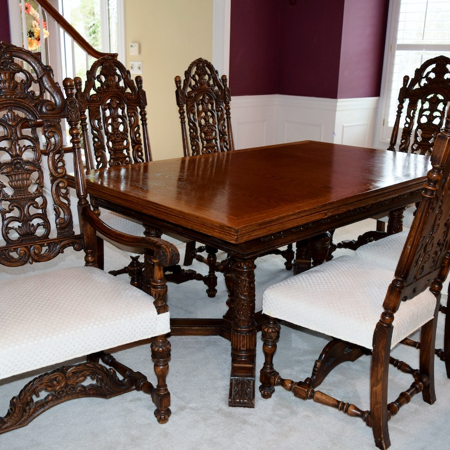 Antique William And Mary Revival Dining Room Set