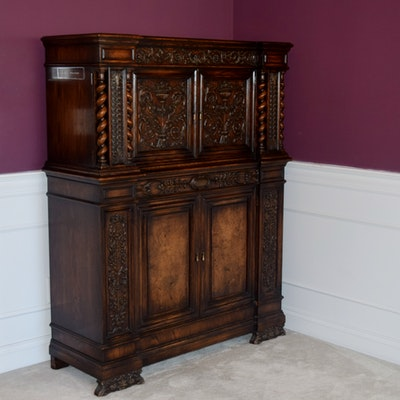 Antique William And Mary Revival Hutch