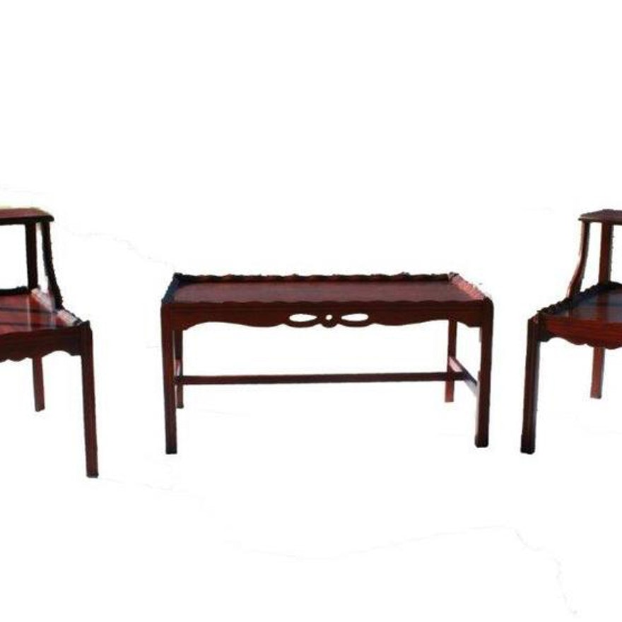 Two tiered end tables and a matching coffee table ebth Matching coffee table and end tables
