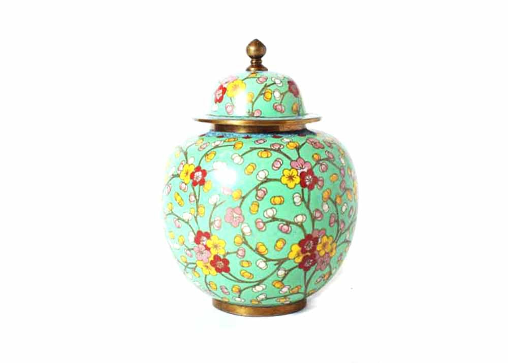 vintage chinese cloisonné style ginger jar with cherry blossoms ebth