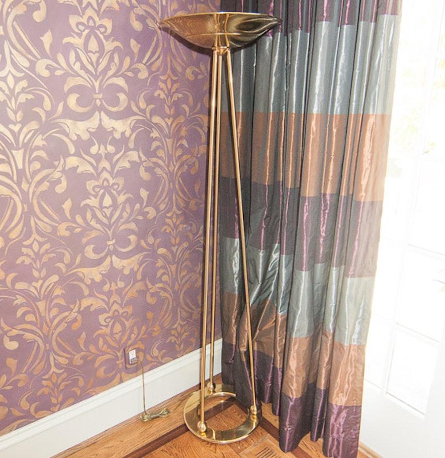 Brass floor lamp by casella ebth for Casella brass floor lamp