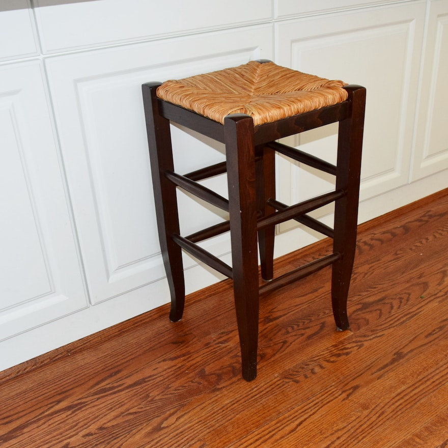 Pottery Barn Quot Napoleon Quot Rush Seat Counter Bar Stool Ebth