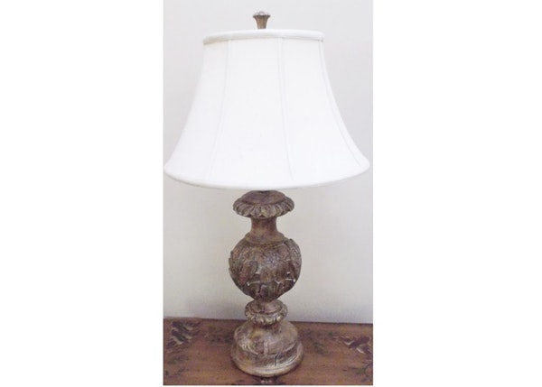 distressed carved wood style resin table lamp ebth. Black Bedroom Furniture Sets. Home Design Ideas