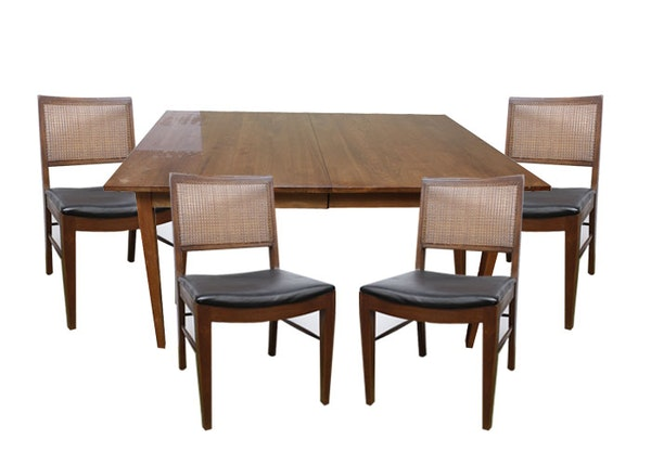 walnut dining room table and four chairs ebth