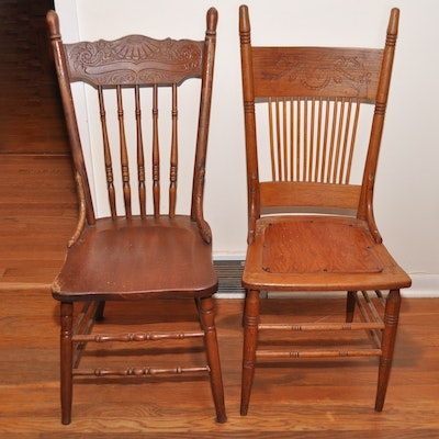 Pair of Oak Pressed Back Chairs - Vintage Chairs, Antique Chairs And Retro Chairs Auction In
