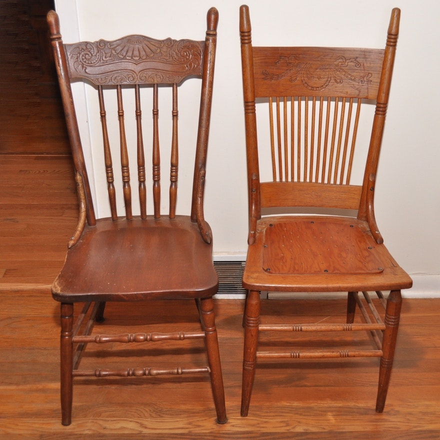 Pair of Oak Pressed Back Chairs ... - Pair Of Oak Pressed Back Chairs : EBTH