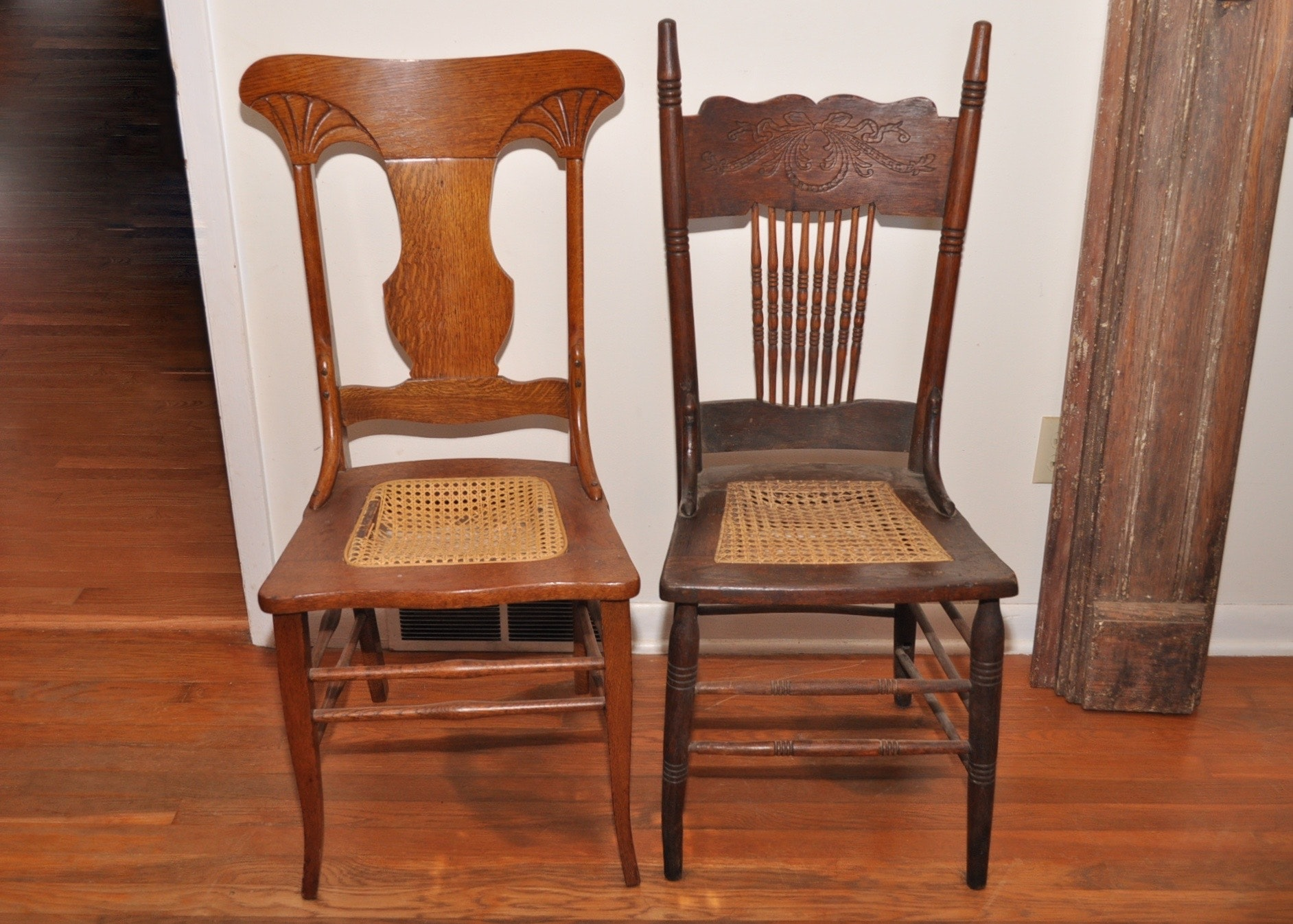 Walnut Pressed Back Chairs With Cane Seats