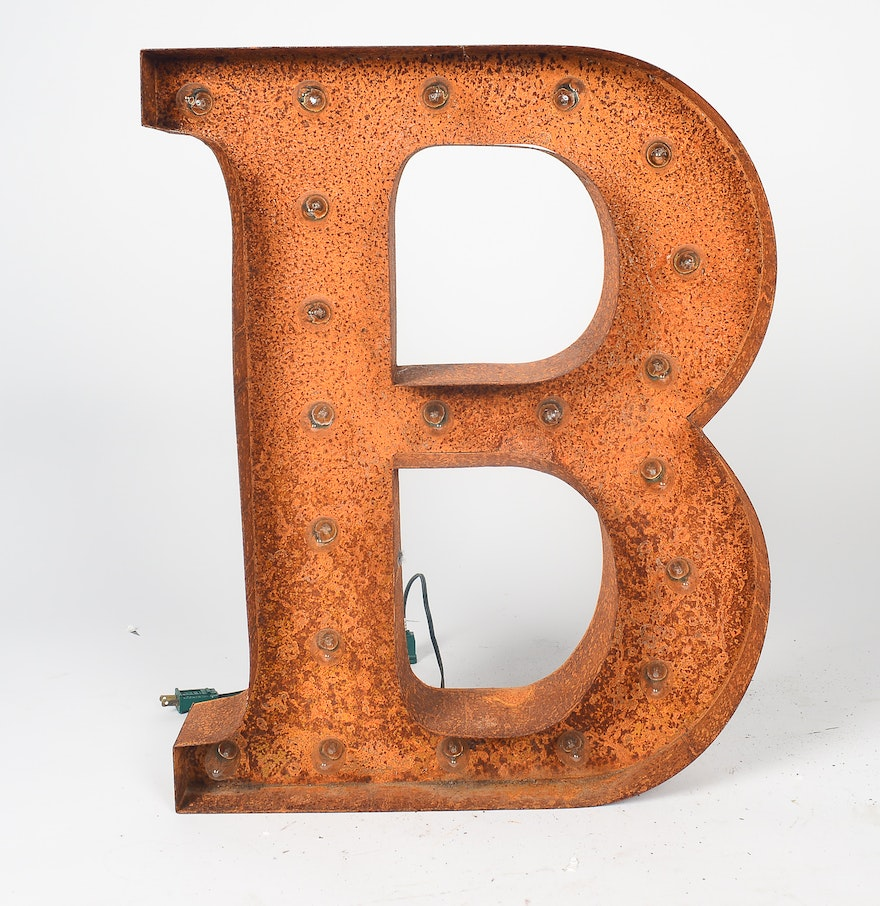 Rustic metal marquee light up letter b ebth for B marquee letter