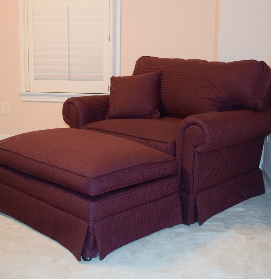 Upholstered Club Chair And Ottoman Ebth