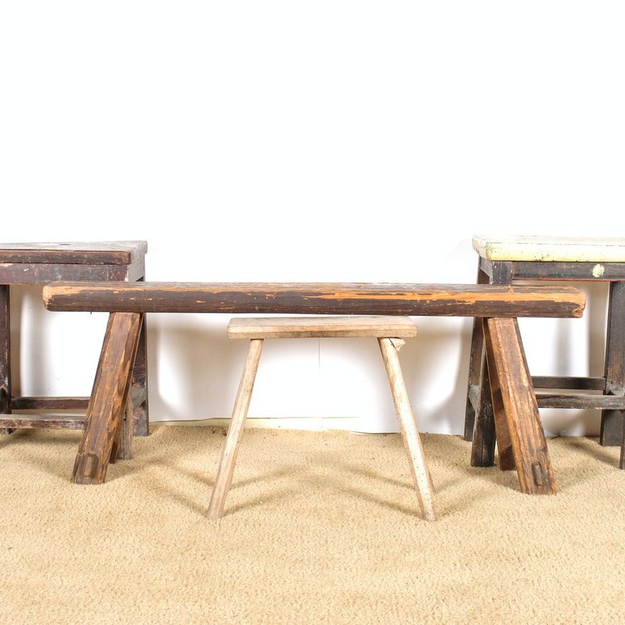 Enjoyable Grouping Of Primitive Benches And Work Tables Bralicious Painted Fabric Chair Ideas Braliciousco