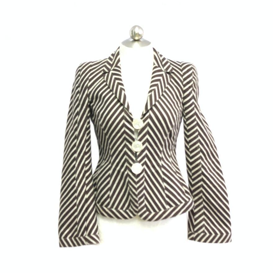 79592ae47768 Armani Collezioni Brown Chevron Blazer Jacket Size 6 : EBTH