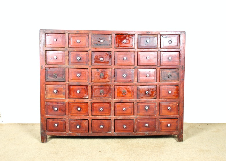 Asian inspired apothecary cabinet ebth for Asian inspired kitchen cabinets