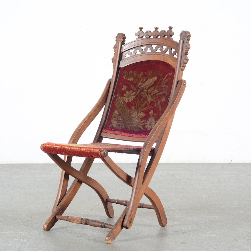 Antique Eastlake Victorian Tapestry Folding Chair ... - Antique Eastlake Victorian Tapestry Folding Chair : EBTH