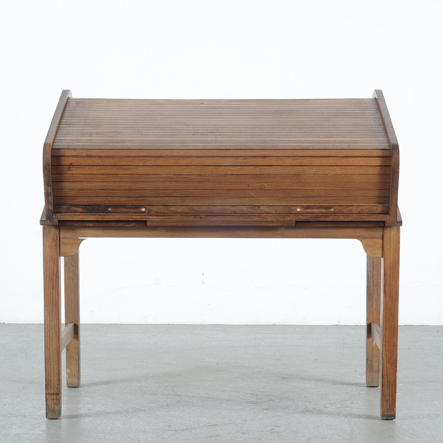 Vintage Oak Roll Top Drafting Desk Ebth
