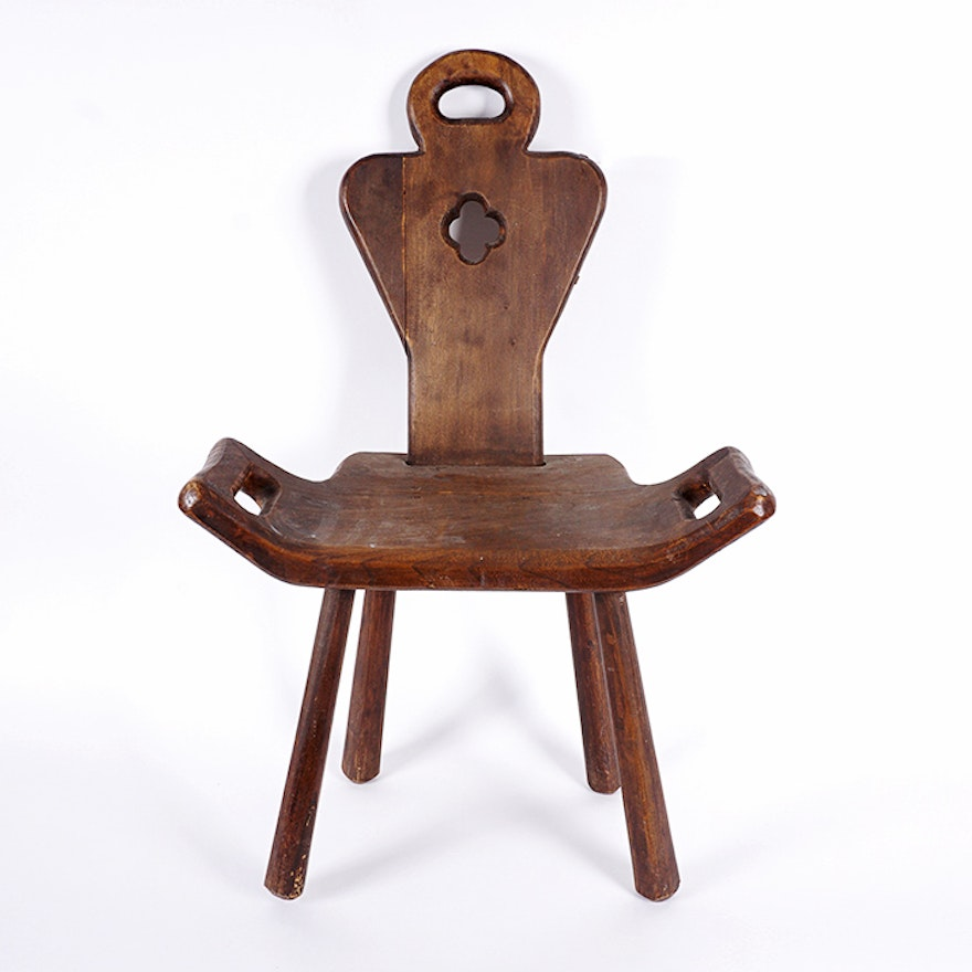 Antique Walnut Birthing Chair ... - Antique Walnut Birthing Chair : EBTH