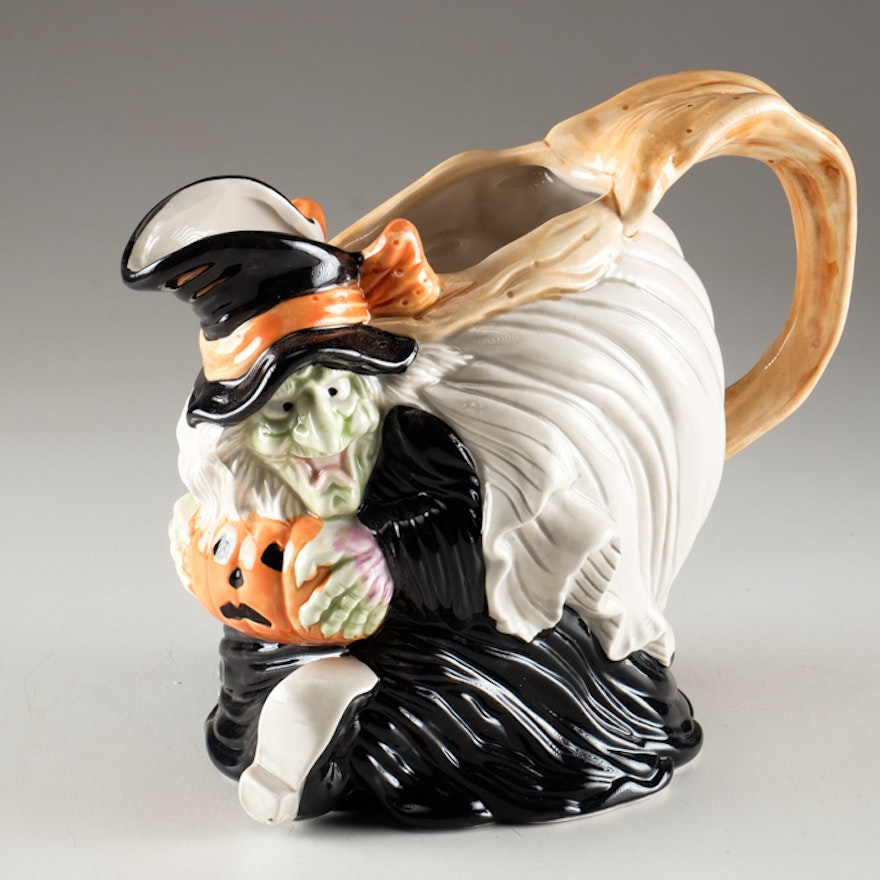 four fitz and floyd halloween witch pitcher