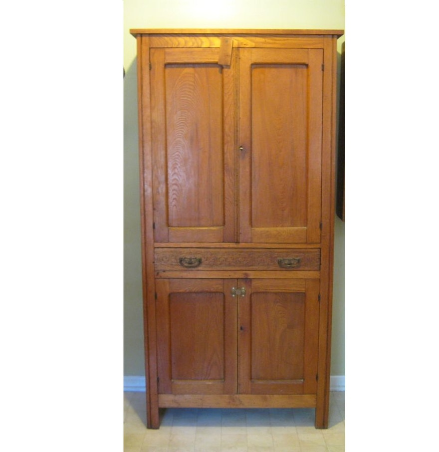Tall Antique Oak Pantry Ebth
