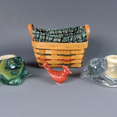Vintage decorative figurines antique figurines auction Longaberger basket building for sale