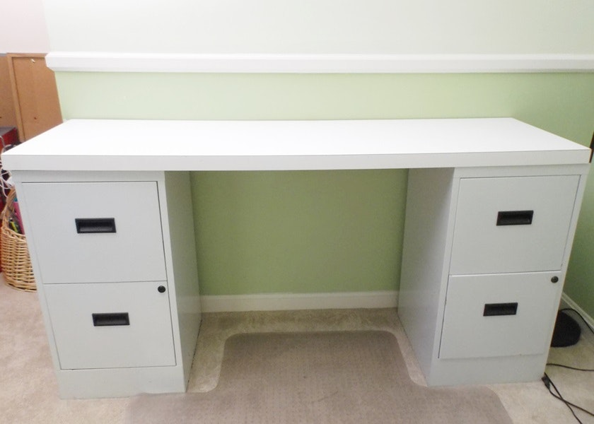 Custom Made Double File Cabinet And Laminate Top Desk ...