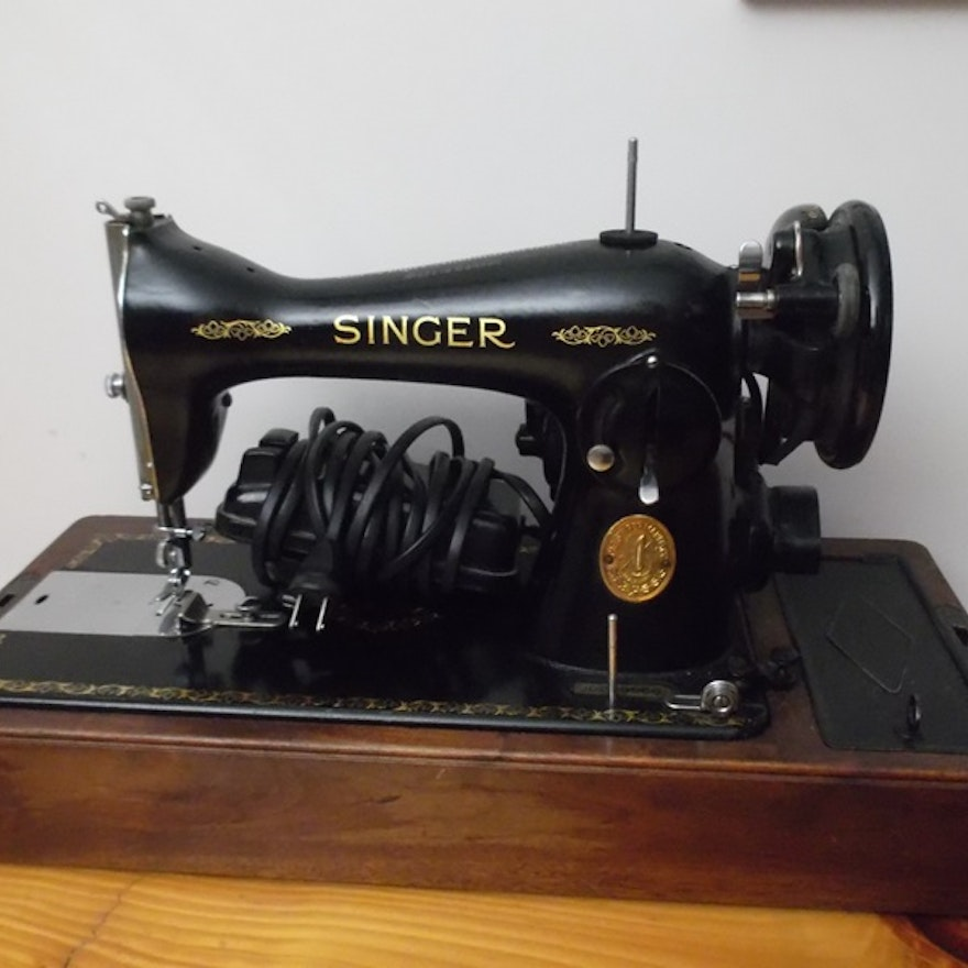 Early 40th Century Portable Singer Sewing Machine EBTH Unique Early Singer Sewing Machine