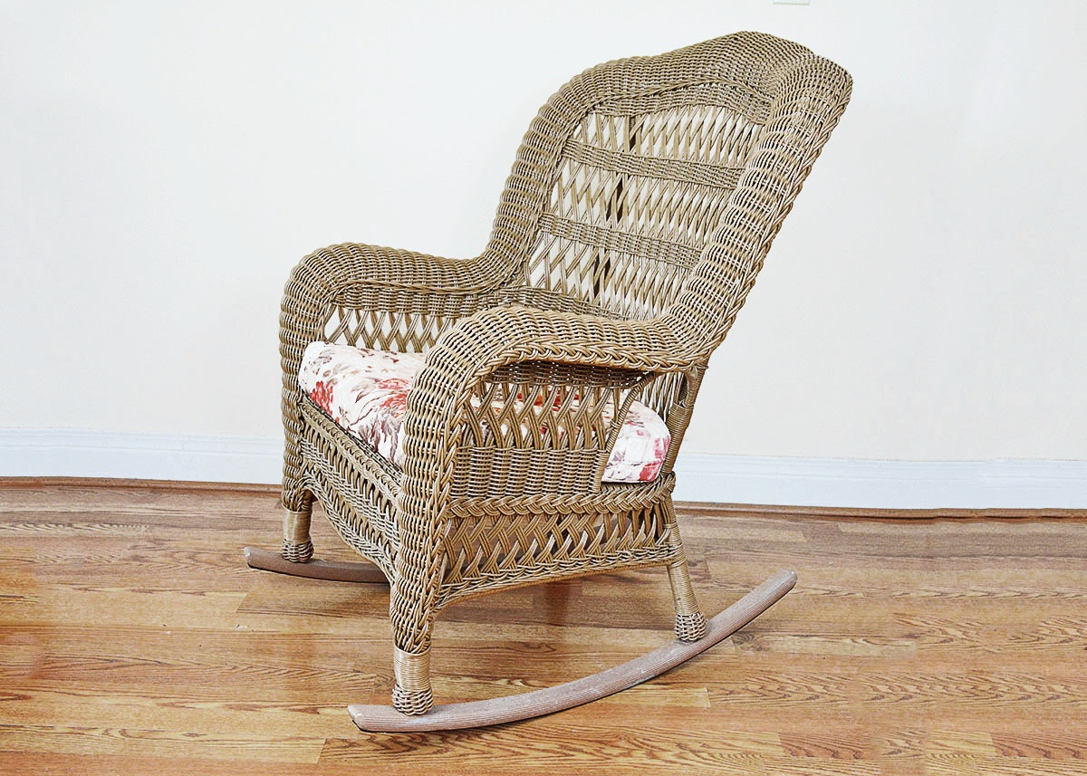 Wicker Style Wingback Rocking Chair EBTH