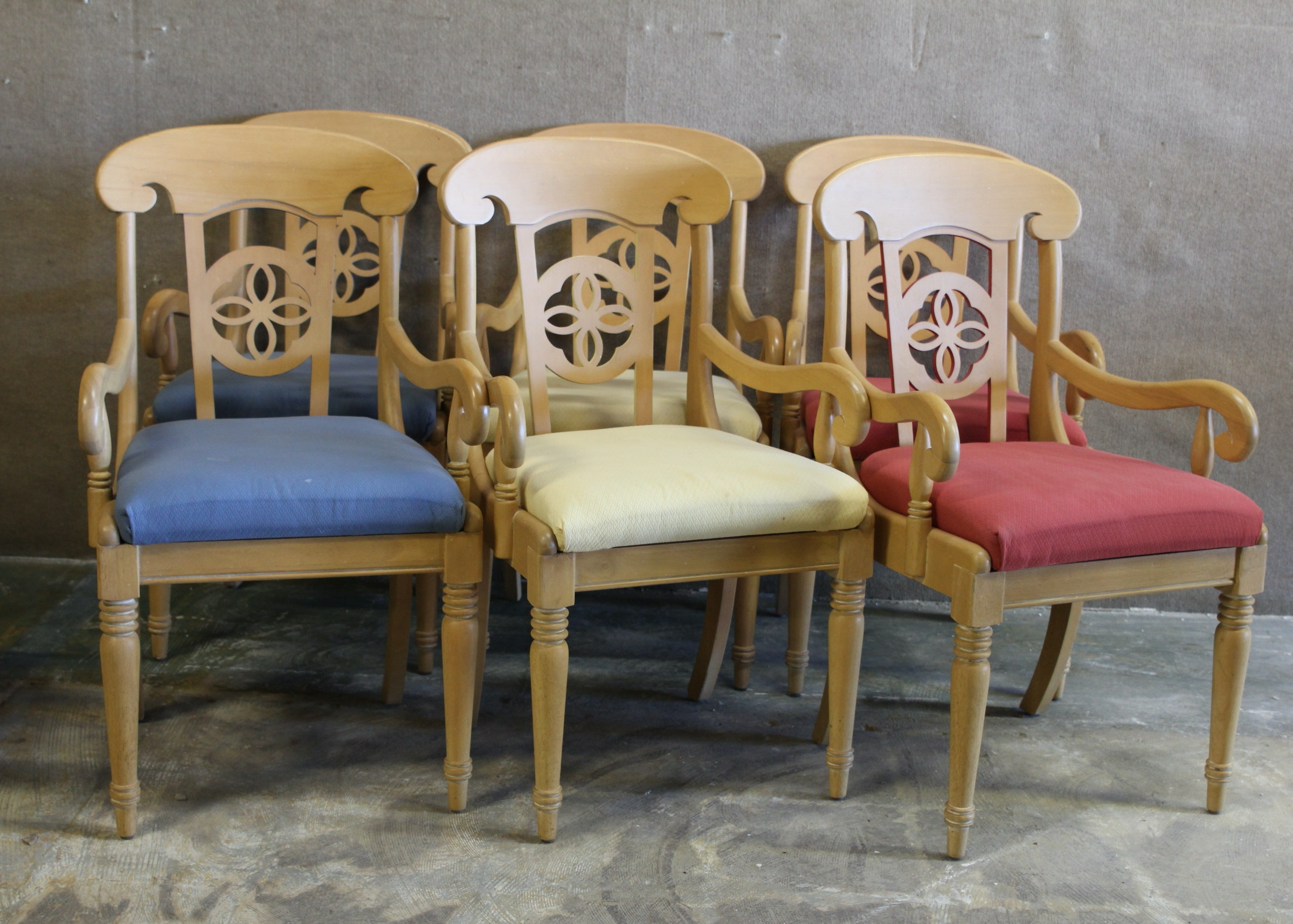 Lot Of Six Maple Dining Chairs