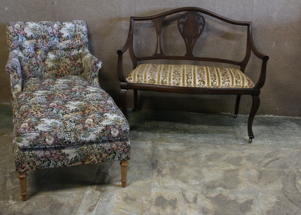 Inlaid Shield Back Love Seat And Upholstered Chaise Lounge Chair Ebth