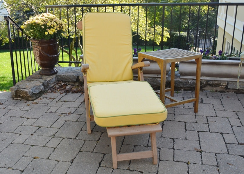 Frontgate Teak Steamer Chair And Side Table ...